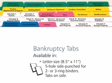 Bankruptcy Index Tabs