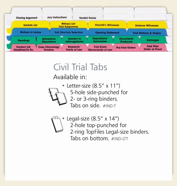 Civil Trial Index Tabs Letter Size