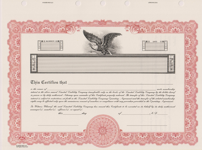 Doc.#400309: Printable Stock Certificates – Stock Certificate
