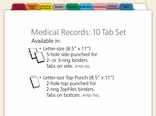 Medical Records Index Tabs: 10 Tab Set