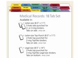 Top Punch Tabs: Medical Records 18 Tab Set Letter Size