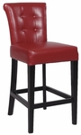 0295 30'' Stationary Solid Birch Bar Stool in Red Bonded Leather [0295-BS-FS-CTY]
