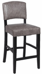 0297 30'' Stationary Solid Birch Bar Stool in Grey Bonded Leather [0297-BS-FS-CTY]
