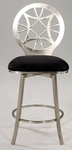 0410 Laser Cut Round Back Memory Swivel Bar Stool in Black Microfiber [0410-BS-FS-CTY]