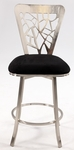 0413 Laser Cut Back Memory Swivel Bar Stool in Black Microfiber [0413-BS-FS-CTY]