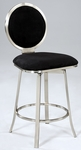 0459 Upholstered Round Back Memory Swivel Bar Stool in Black Microfiber [0459-BS-FS-CTY]