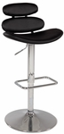 0642 Pneumatic Gas Lift Swivel Height Stool in Black Polyurethane [0642-AS-BLK-FS-CTY]
