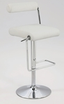 0979 Roll Back Pneumatic Gas Lift Adjustable Height Swivel Stool in White Polyurethane [0979-AS-WHT-FS-CTY]