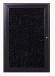 1-Door Bronze Aluminum Enclosure Recycled Rubber Tackboard - Black [PB12418TR-BK-GHE]
