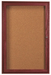 1 Door Enclosed Bulletin Board with Cherry Finish - 36''H x 24''W [CBC3624R-AA]