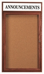 1 Door Enclosed Bulletin Board with Header and Cherry Finish - 36''H x 24''W [CBC3624RH-AA]