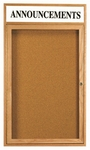 1 Door Enclosed Bulletin Board with Header and Oak Finish - 36''H x 24''W [OBC3624RH-AA]