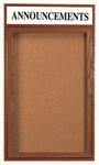 1 Door Enclosed Bulletin Board with Header and Walnut Finish - 36''H x 24''W [WBC3624RH-AA]