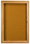 1 Door Enclosed Bulletin Board with Oak Finish 24''H x 18''W [OBC2418R-AA]