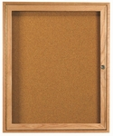 1 Door Enclosed Bulletin Board with Oak Finish 36''H x 30''W [OBC3630R-AA]