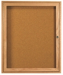 1 Door Enclosed Bulletin Board with Oak Finish - 36''H x 30''W [OBC3630R-AA]
