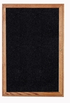 1-Door Walnut Wood Frame Enclosure Recycled Rubber Tackboard - Black [PN12418TR-BK-GHE]