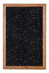 1-Door Walnut Wood Frame Enclosure Recycled Rubber Tackboard - Confetti Speck [PN12418TR-CF-GHE]