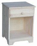 Solid Parawood 19''W X 26''H Night Stand with One Drawer - Unfinished [BD-5001-FS-WHT]