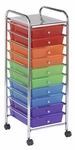 10 Drawer Mobile Organizer with Chrome-Plated Top Shelf and Assorted Colors Pullout Drawers [ELR-009-AS-ECR]