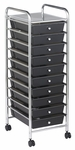 10 Drawer Mobile Organizer with Chrome-Plated Top Shelf and Smoke Colored Pullout Drawers [ELR-009-SM-ECR]