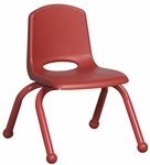 10''H Vented Back Stacking Chair with Matching Legs and Ball Glides - Red [ELR-2192-RD-ECR]