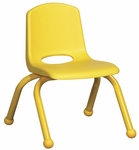 10''H Vented Back Stacking Chair with Matching Legs and Ball Glides - Yellow [ELR-2192-YE-ECR]