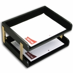 1000 Series Classic Leather - Black Leather Letter-Size Double Side Load Trays [A1072-FS-DAC]