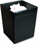 Classic Leather Square Waste Basket - Black [A1003-FS-DAC]