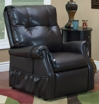 Economy Model Two Way Reclining Power Lift Chair with Magazine Pocket - Dawson Dark Brown Vinyl [1155-DV-FS-MEDL]