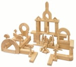 118 Piece Hand-Sanded Solid Hardwood Building Block Set - Uniform 1.25''W [ELR-079-ECR]