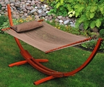 Caribbean 12' Wooden Arc Frame with Soft Polyester Rope Hammock and Matching Pillow - Brown [67104914SP-FS-ALG]