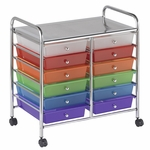 12 Drawer Mobile Organizer with Chrome-Plated Top Shelf and Assorted Colors Pullout Drawers [ELR-0261-AS-ECR]