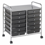 12 Drawer Mobile Organizer with Chrome-Plated Top Shelf and Smoke Colored Pullout Drawers [ELR-0261-SM-ECR]