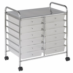 12 Drawer Mobile Organizer with Chrome-Plated Top Shelf and White Pullout Drawers [ELR-0261-WH-ECR]