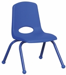 12''H Vented Back Stacking Chair with Matching Legs and Ball Glides - Blue [ELR-2193-BL-ECR]