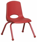 12''H Vented Back Stacking Chair with Matching Legs and Ball Glides - Red [ELR-2193-RD-ECR]