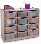 12 Tray Storage Cabinet with 12 Clear Storage Trays and Casters [WB0912T-FS-WBR]