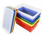 12 Pack Heavy Duty Stack and Store Tubs with Lids - Assorted Colors - 15.56''W x 8.63''D x 5.31''H [ELR-20506-AS-ECR]