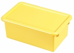 Stackable Heavy Duty Polypropylene Plastic Storage Tubs with Lids - Yellow [ELR-0102-YE-ECR]