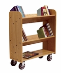 13''D Solid Oak Book Truck with 1 Flat and 2 Sloped Shelves [BT011-DW]