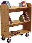 Solid Oak Mobile Book Truck with 1 Flat and 2 Sloped Shelves - 32''W x 13''D x 37.5''H [BT011-DW]