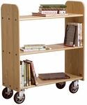 Solid Oak Mobile Book Truck with 3 Flat Shelves - 32''W x 13''D x 37.5''H [BT111-DW]