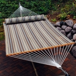 Water Repellent Quick Dry 13' Polyester Hammock with Matching Pillow - Earth Tone Stripe [2781SPC-FS-ALG]