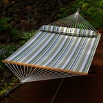 Water Repellant Quick Dry 13' Polyester Hammock with Matching Pillow - Green and Grey Stripe [2789W74SPC-FS-ALG]