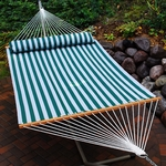 Water Repellent Quick Dry 13' Polyester Hammock with Matching Pillow - Cabana Stripe [2780SPC-FS-ALG]