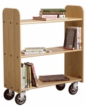 14''D Solid Oak Book Truck with 3 Flat Shelves [BT211-DW]