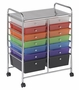 14 Drawer Mobile Organizer With Chrome Plated Top Shelf