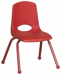 14''H Vented Back Stacking Chair with Matching Legs and Ball Glides - Red [ELR-2194-RD-ECR]