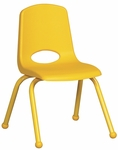14''H Vented Back Stacking Chair with Matching Legs and Ball Glides - Yellow [ELR-2194-YE-ECR]